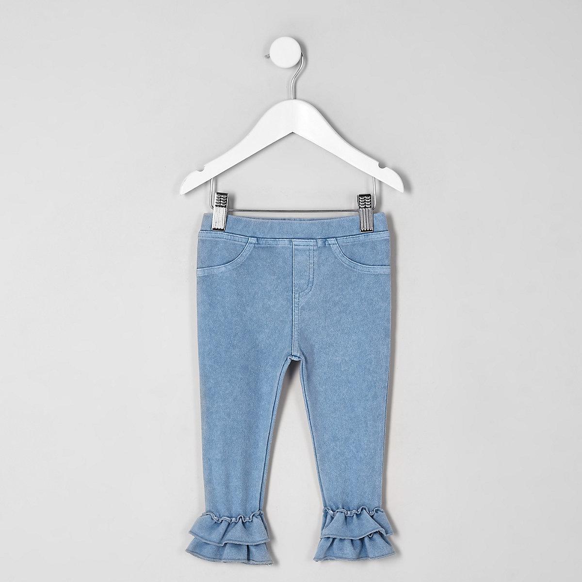 Mini girls denim look double frill leggings