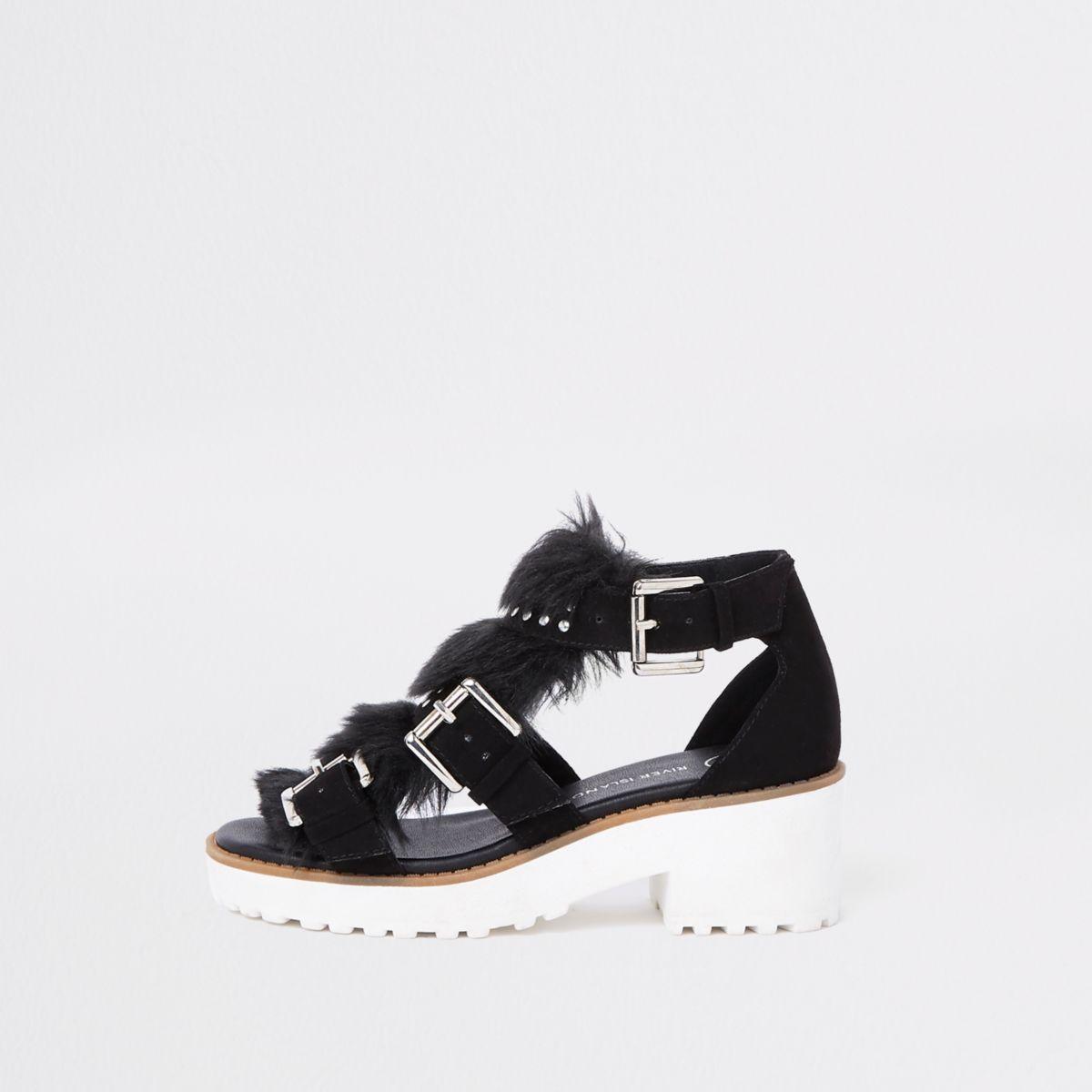 Girls black stud fur trim clumpy sandals