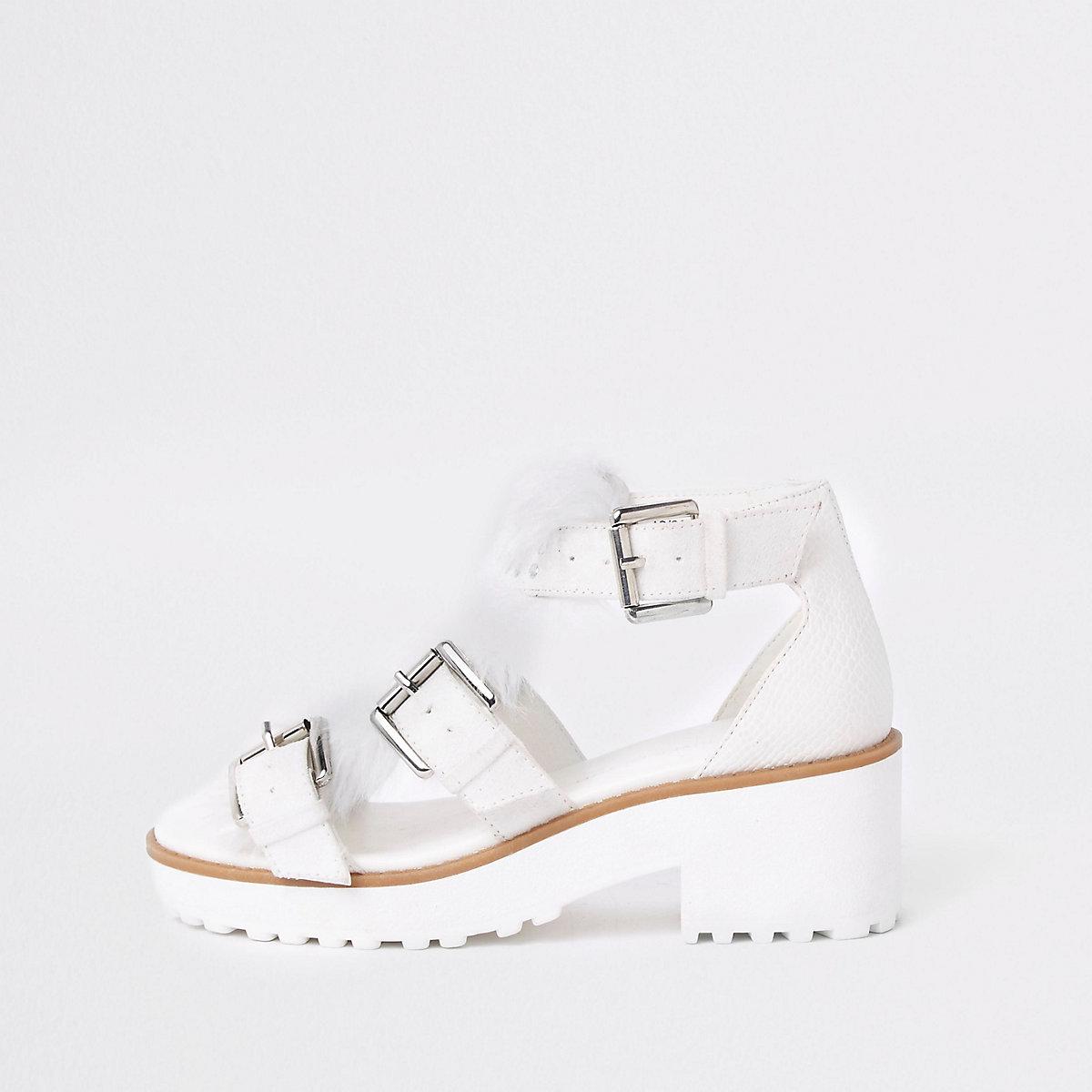 Girls white stud fur trim clumpy sandals