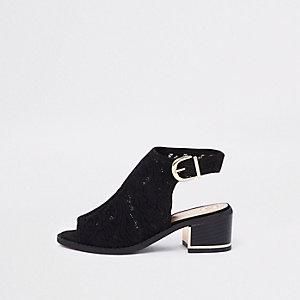 Chaussures peep toe à talons en dentelle noire pour fille