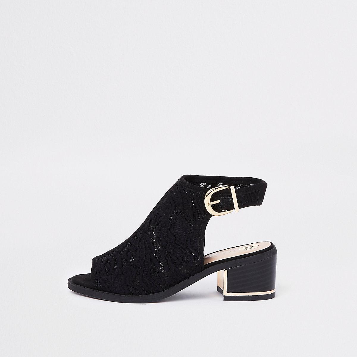 Girls black lace peep toe heels