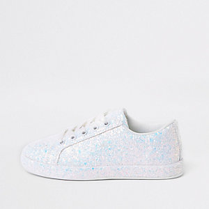 Girls white glitter plimsolls
