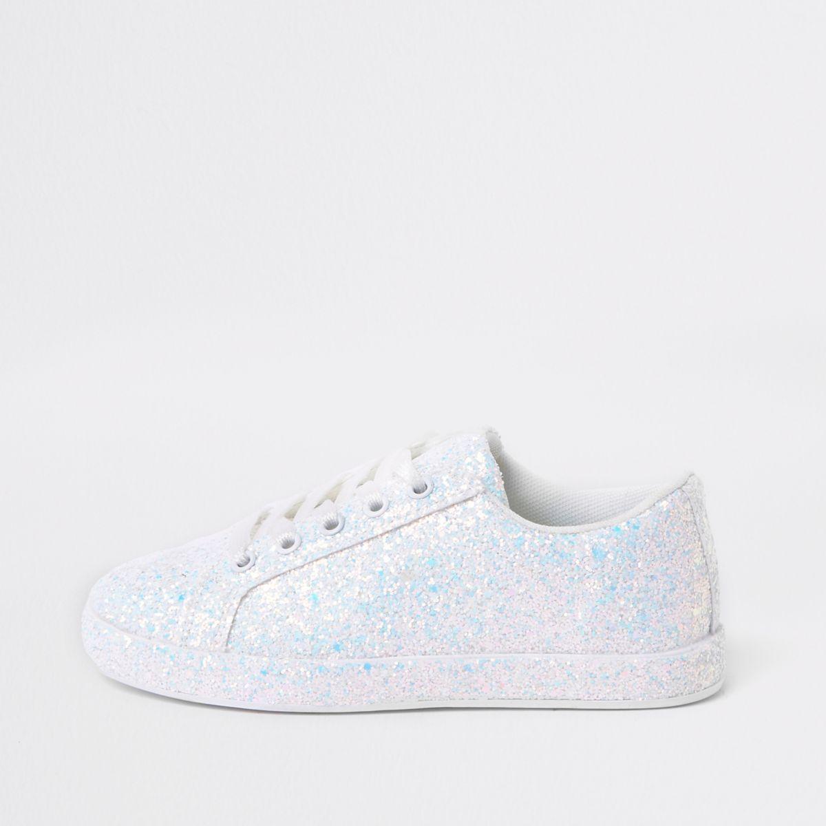 Girls white glitter plimsolls