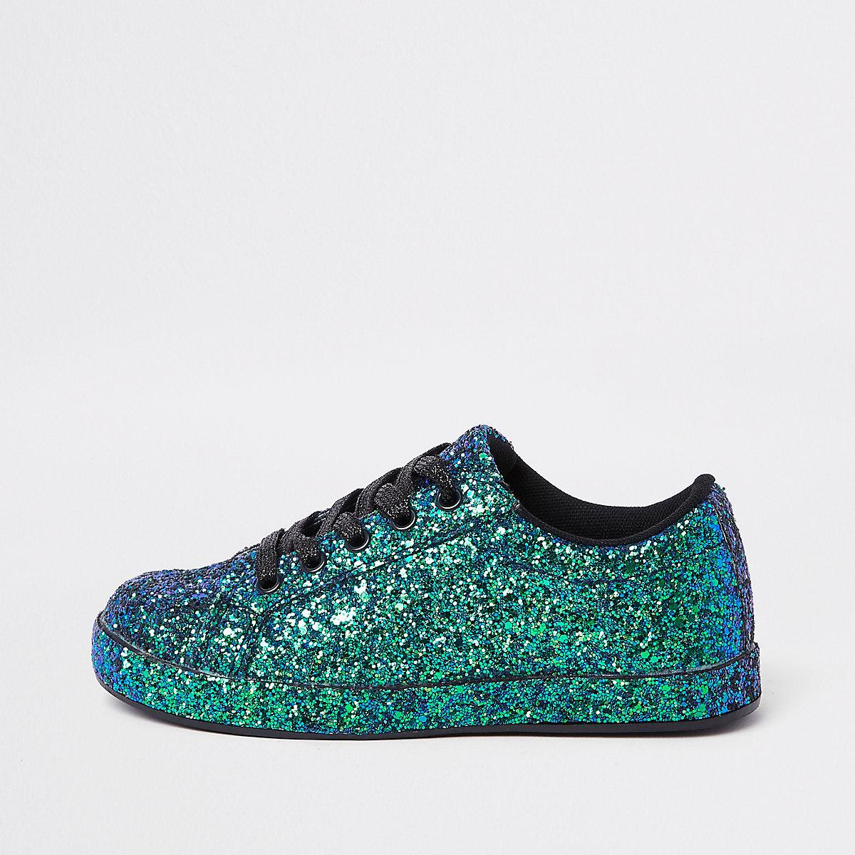 Girls blue glitter plimsolls