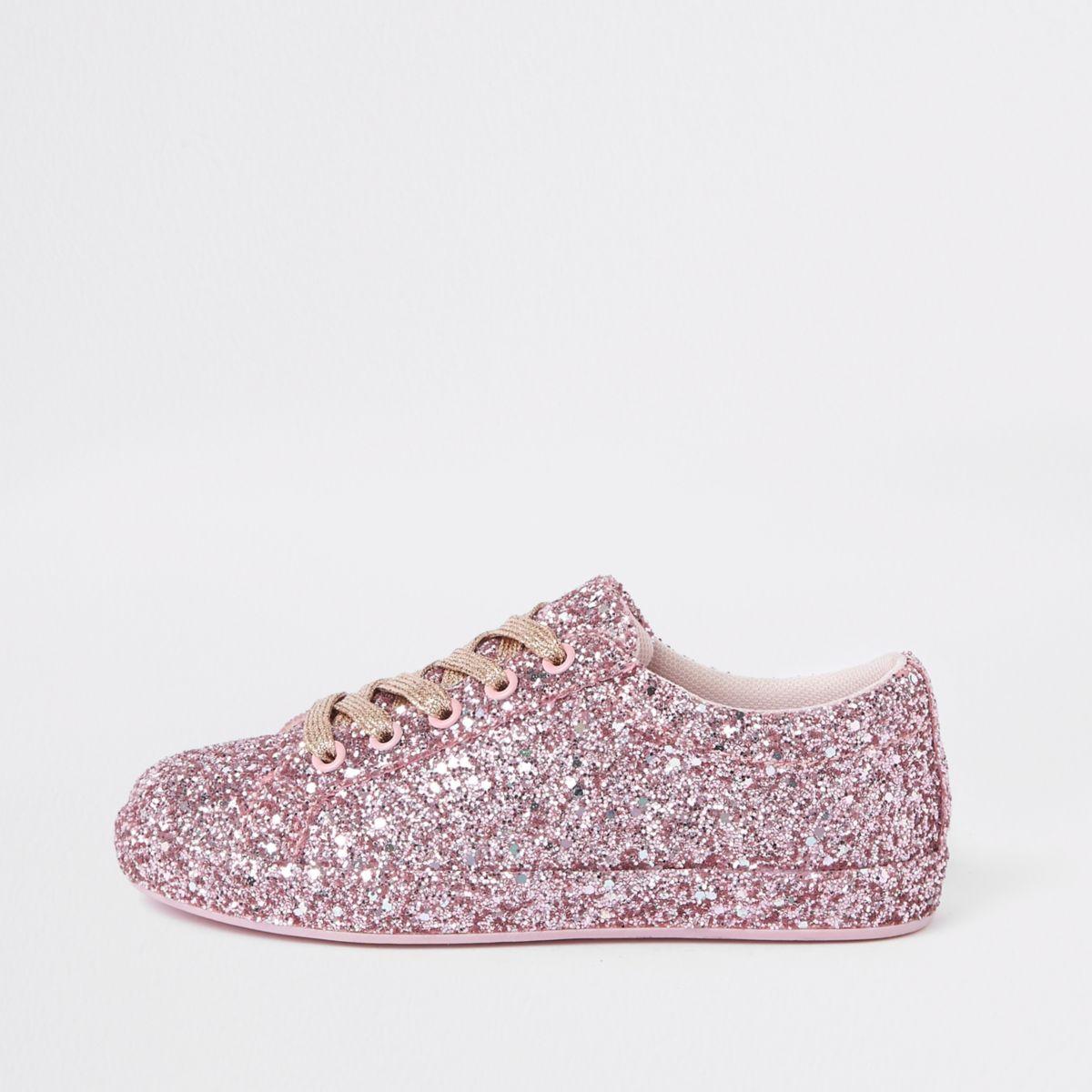 Girls pink glitter plimsolls