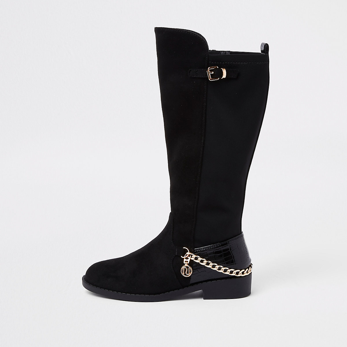 Girls black faux suede chain knee high boots