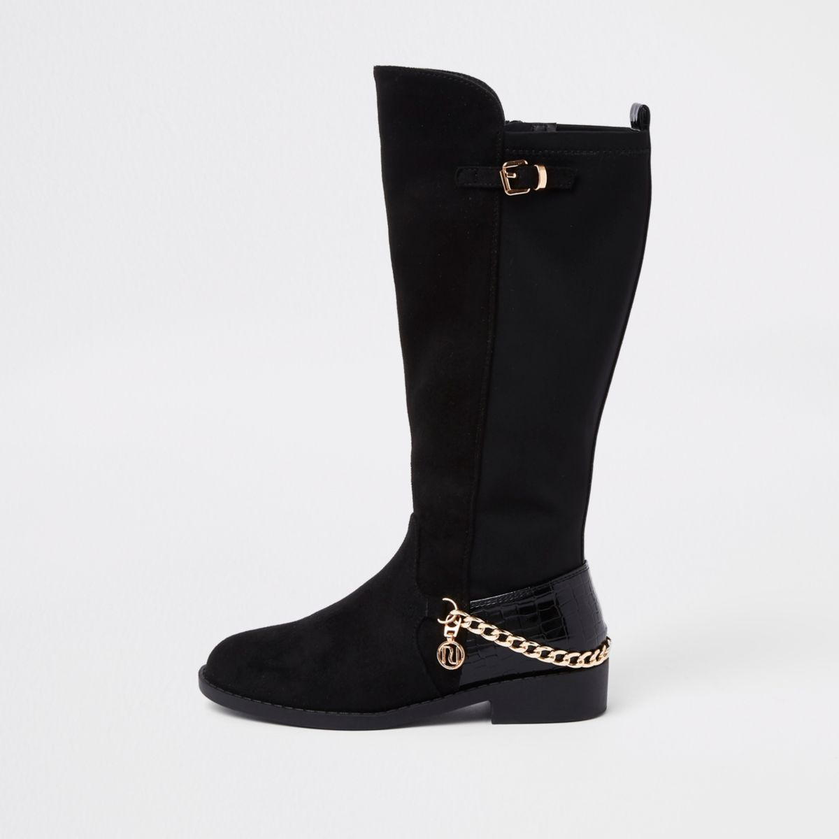 Girls black suede chain knee high boots