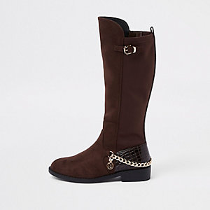 Girls dark red suede chain knee high boots