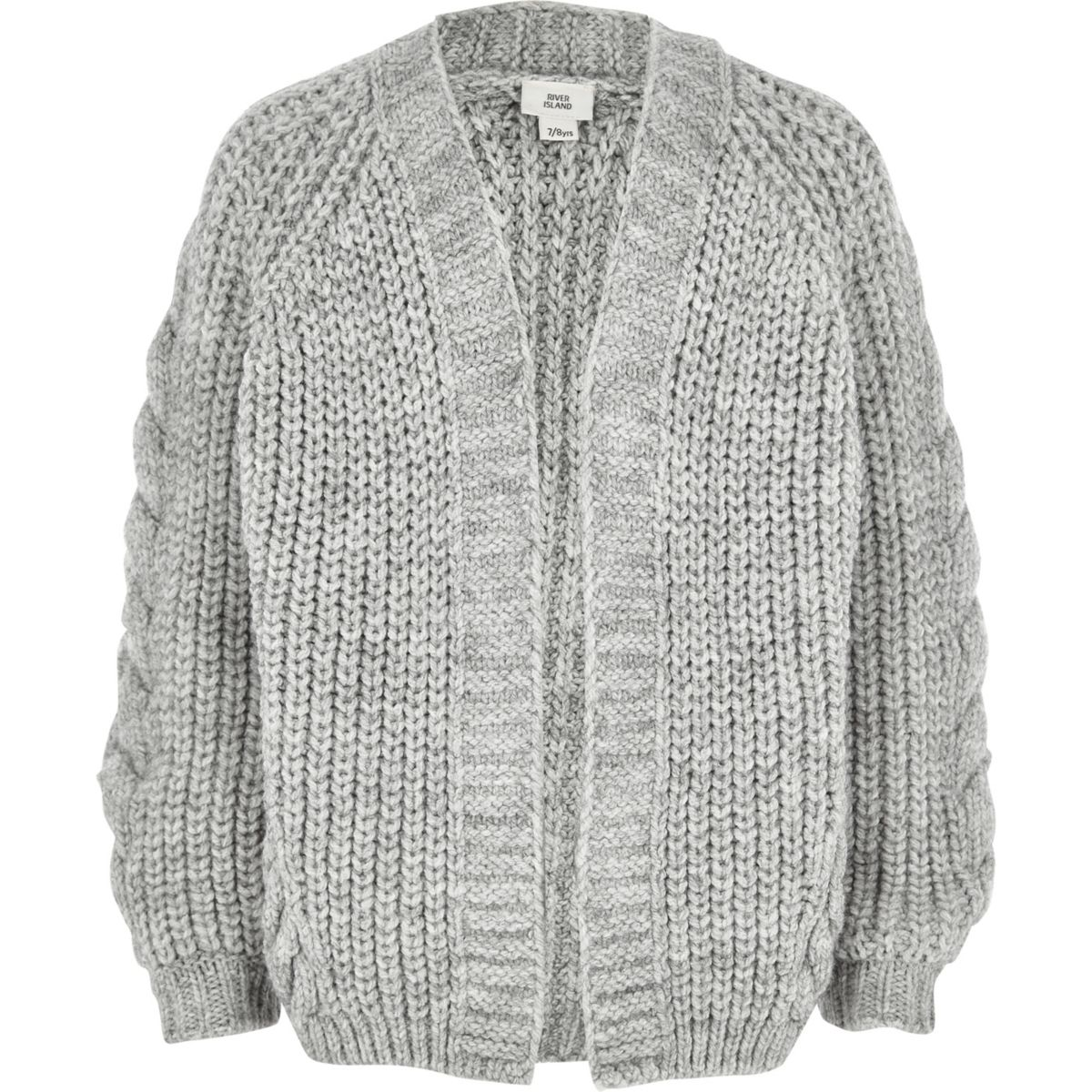 Girls chunky cable knit cardigan