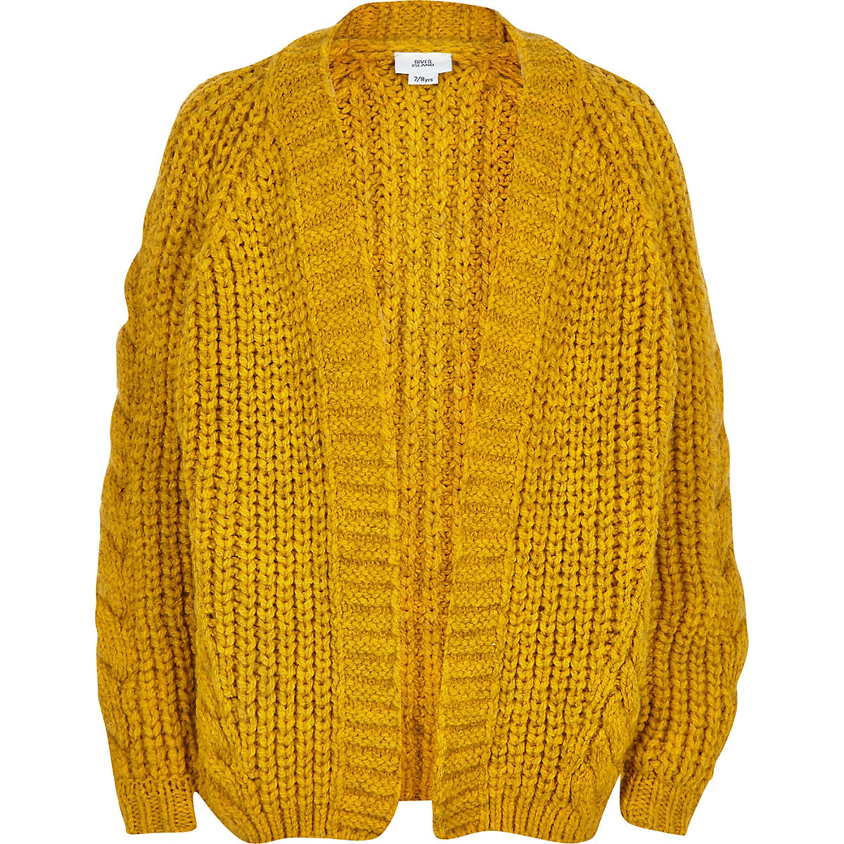 Yellow chunky cable knit cardigan