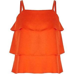 Oranje gelaagde camitop met ruches voor meisjes