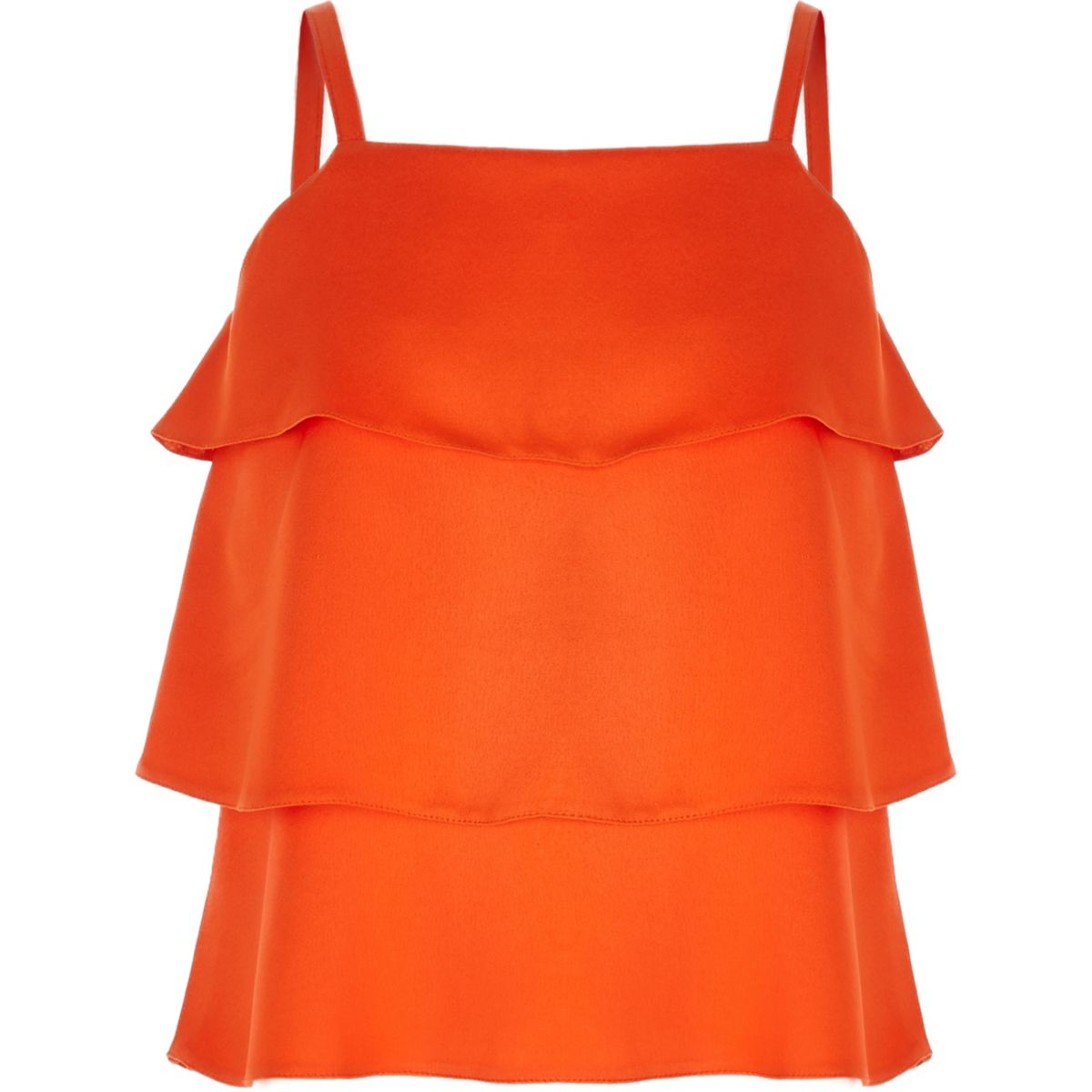 Girls orange tiered frill cami top