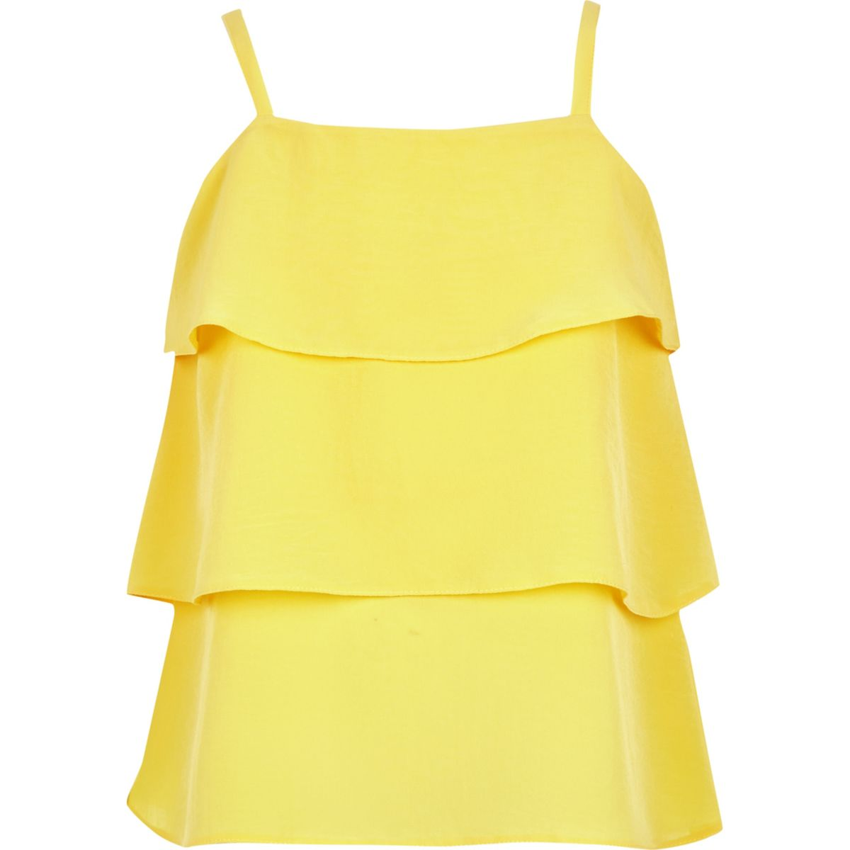 Girls yellow tiered frill cami top