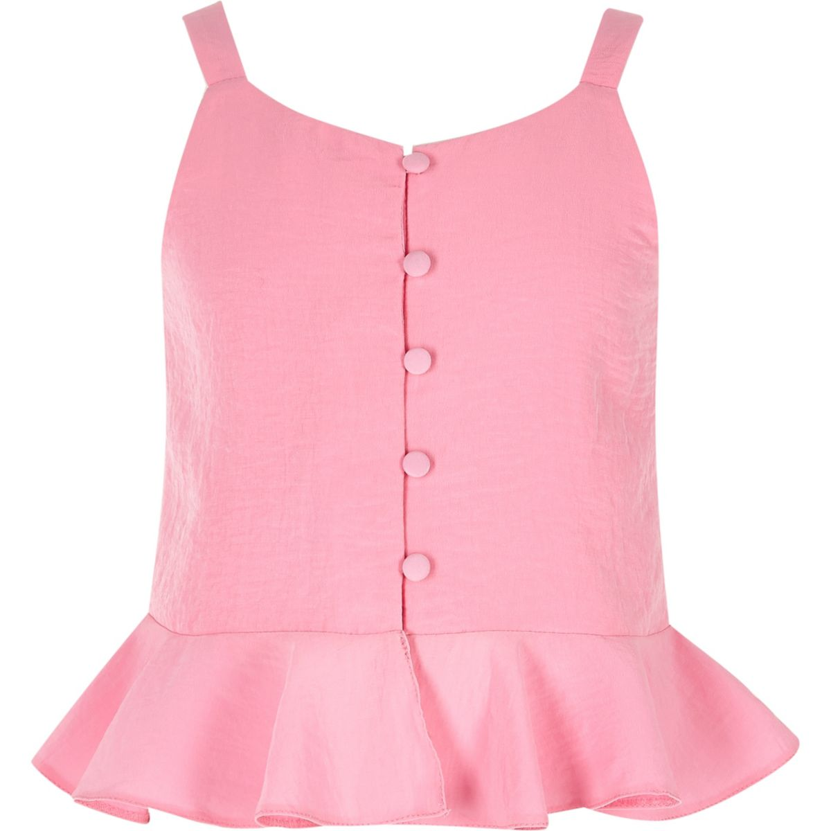 Girls pink button front cami top