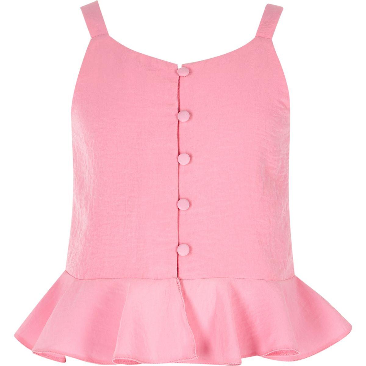 Pinkes Camisole mit Knöpfen