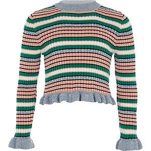 Blau gestreifter Pullover mit Rüschenärmeln