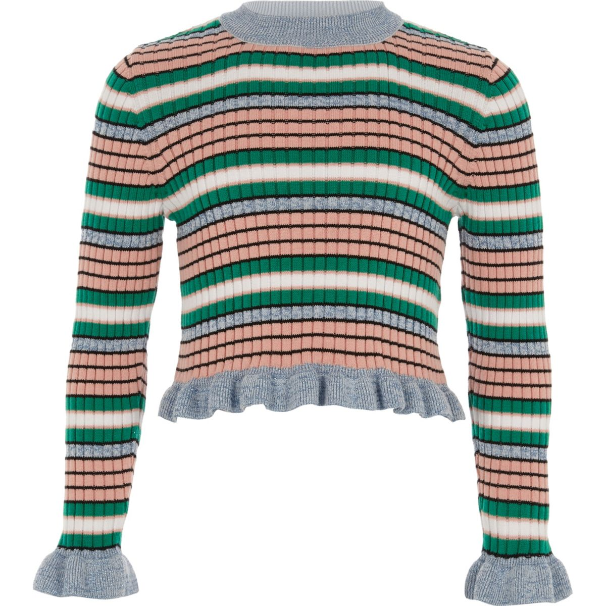 Girls blue stripe frill sleeve sweater