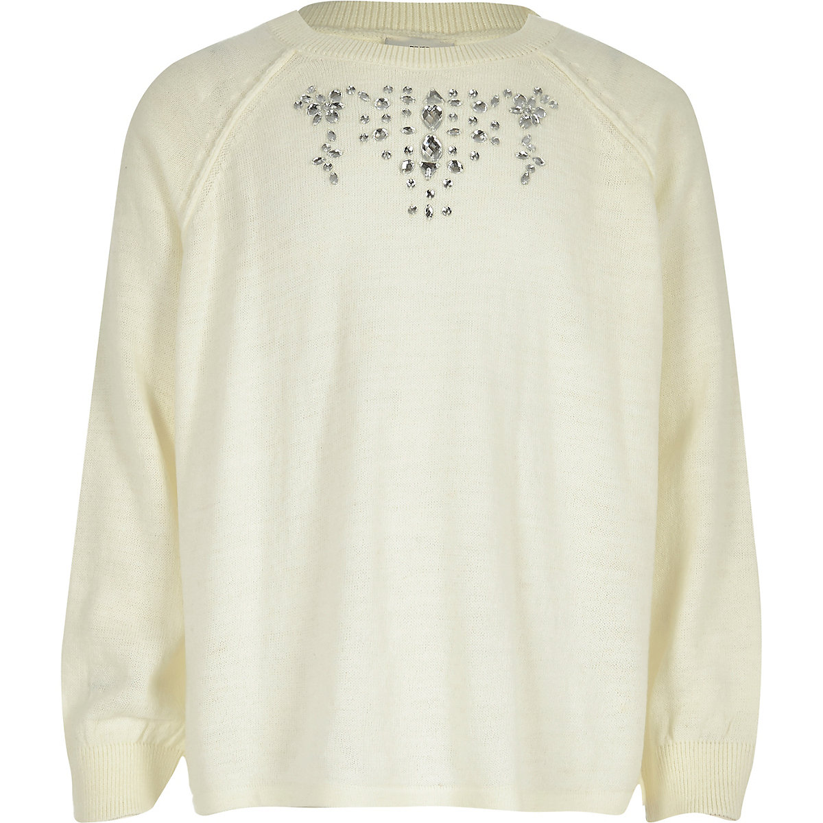 Girls cream jewel split back jumper