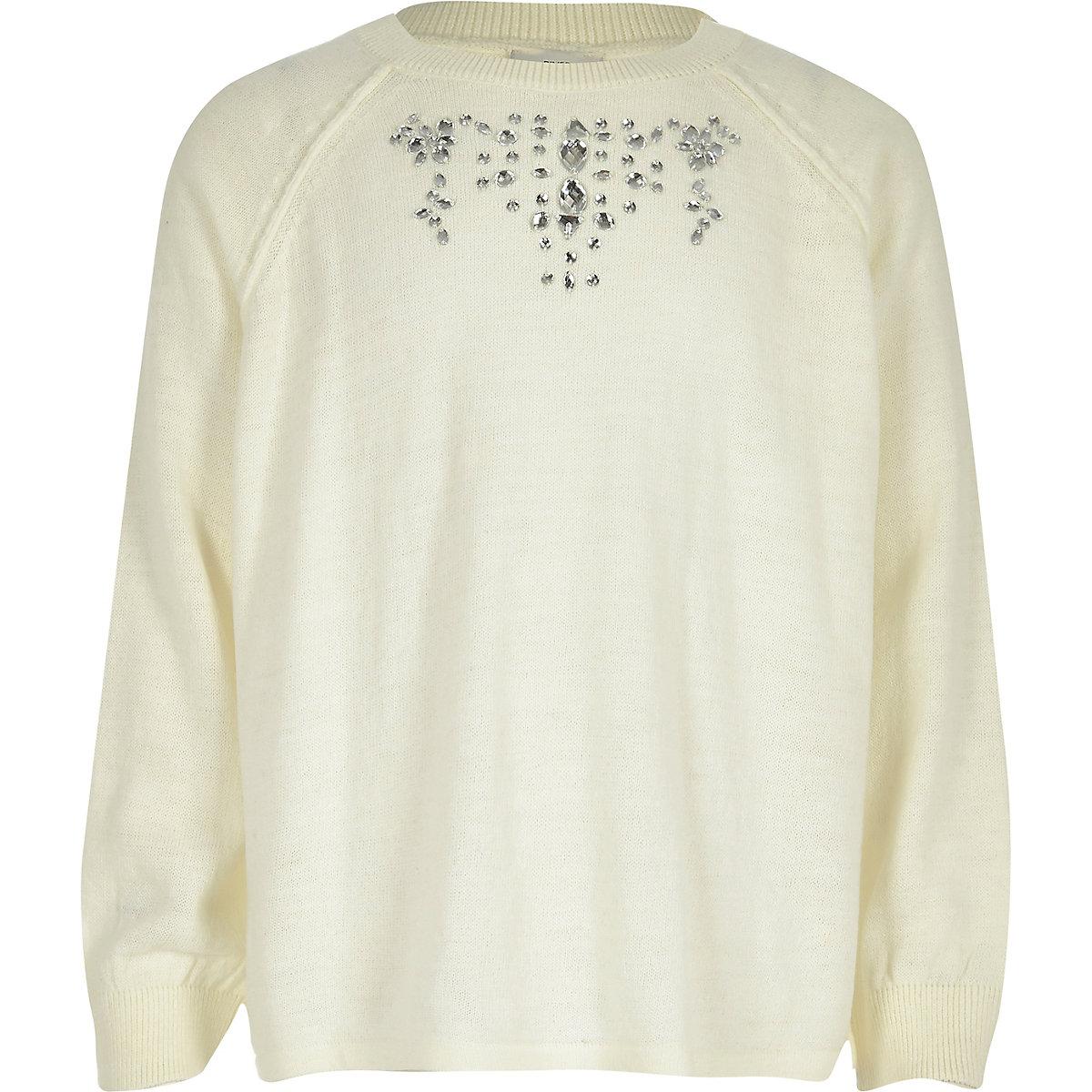 Pullover in Creme mit Rückenschlitz