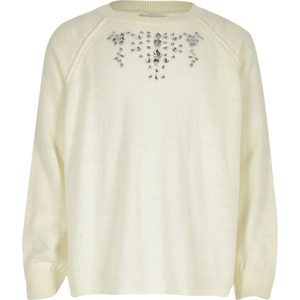Girls cream jewel split back sweater