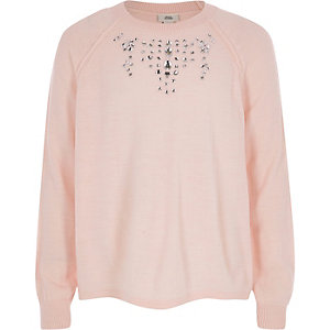 Girls pink embellished knit sweater
