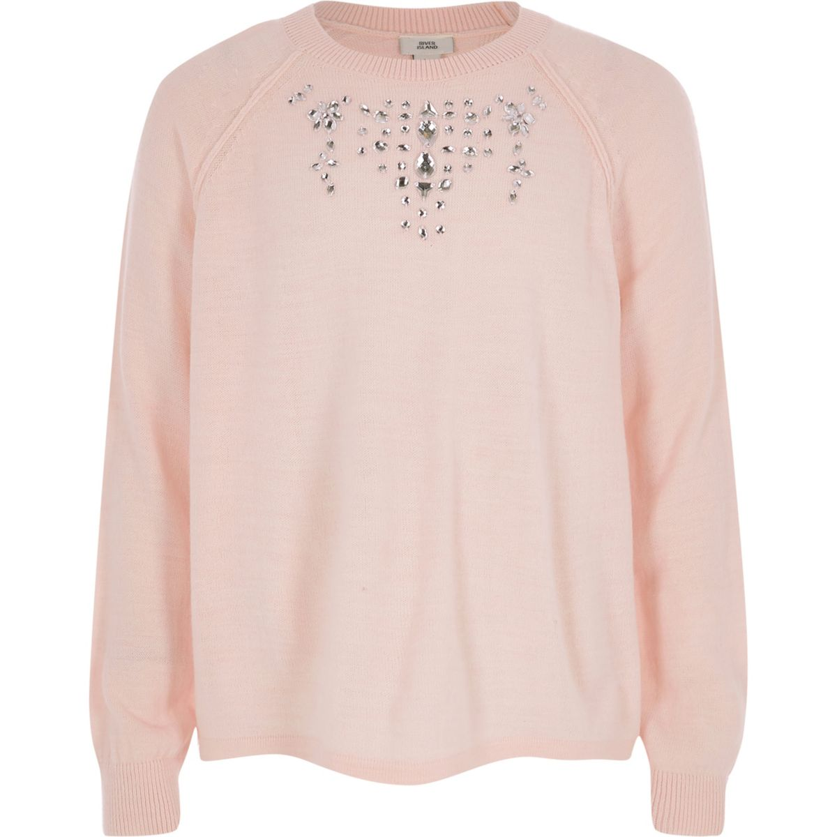 Girls pink embellished knit jumper