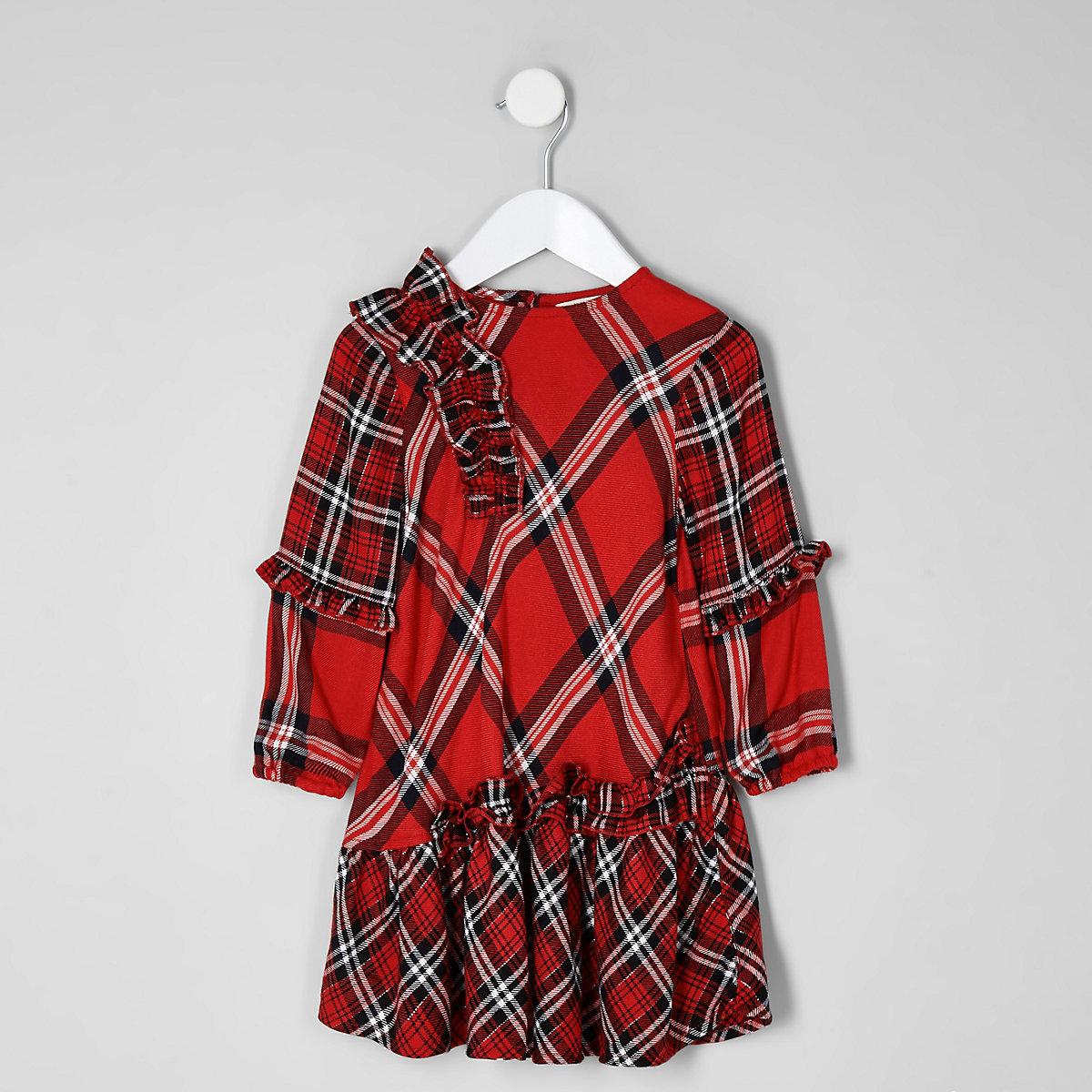 Mini girls red check shift dress