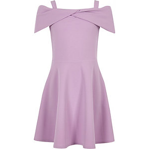 Girls purple bow bardot skater dress