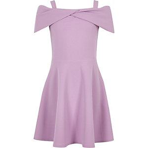 Robe patineuse Bardot violette avec nœud pour fille