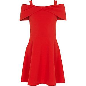 Robe patineuse Bardot en néoprène rouge à nœud pour fille