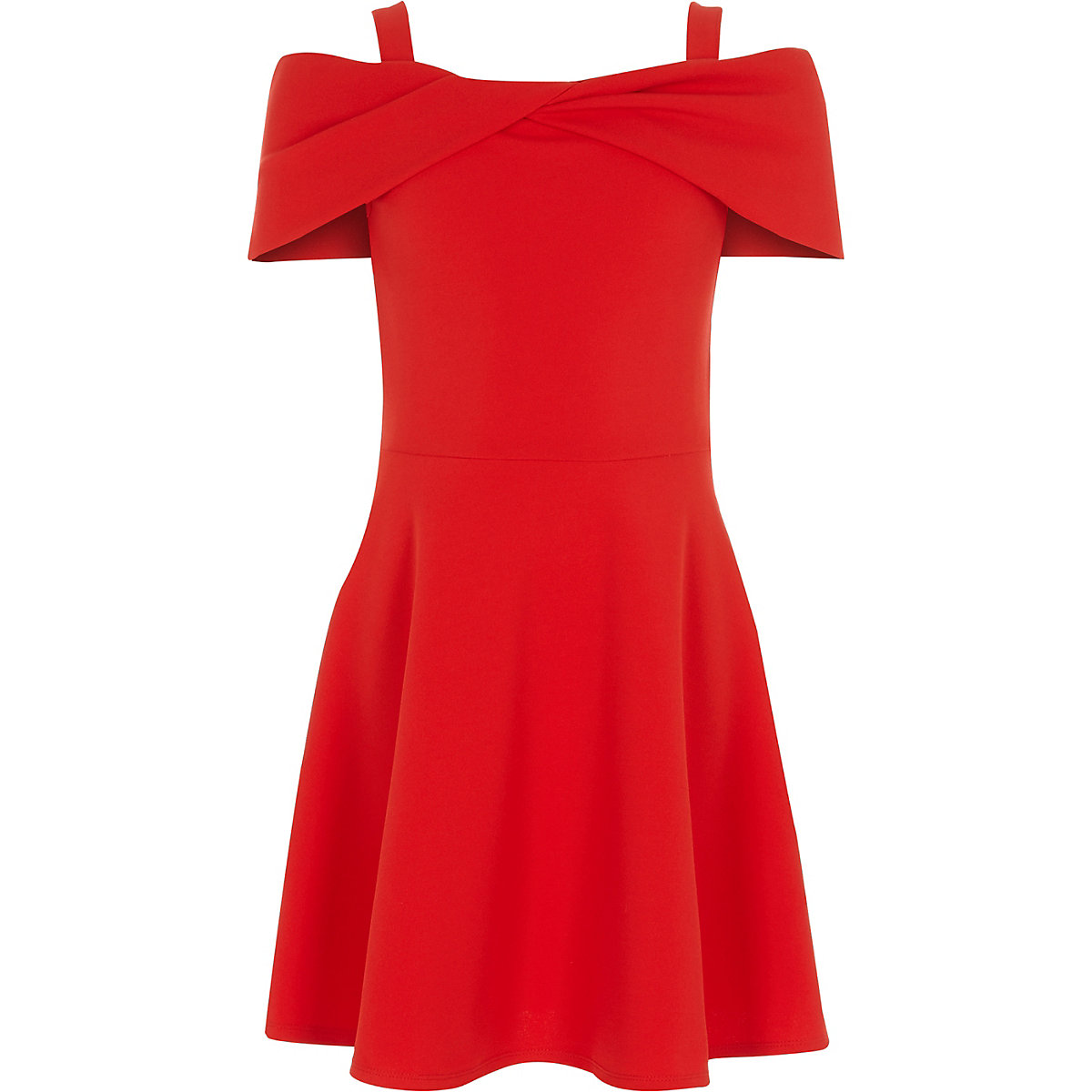 Girls red scuba bow bardot skater dress