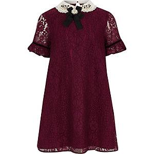 Robe trapèze rouge à dentelle au col pour fille