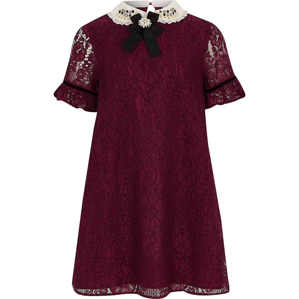 Girls red lace collar trapeze dress