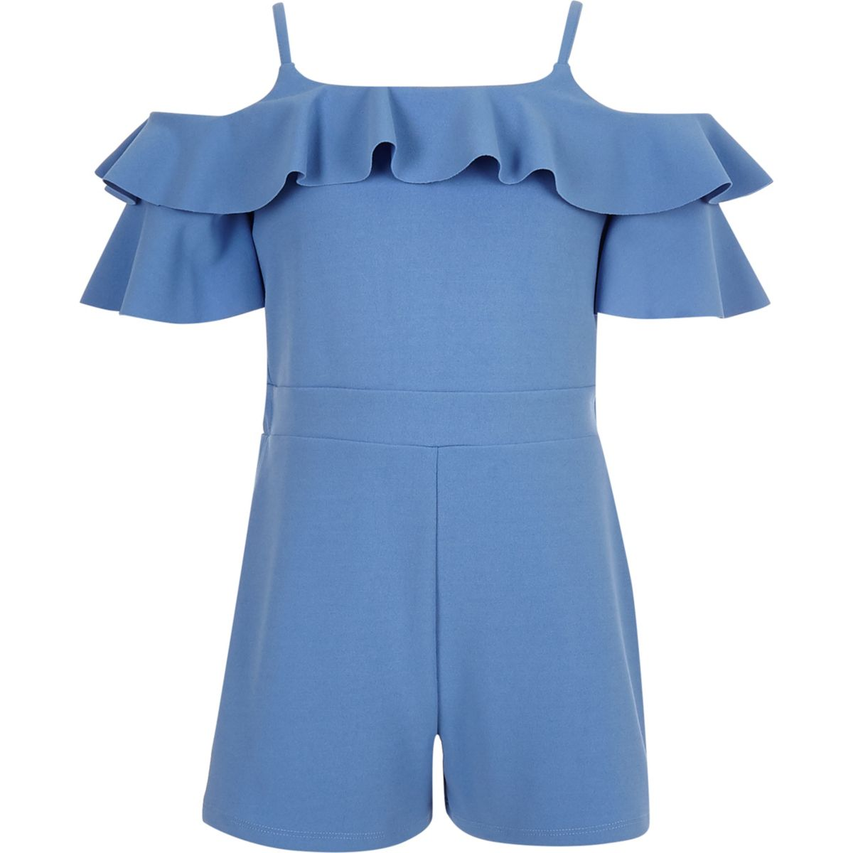 Girls blue cold shoulder ruffle romper
