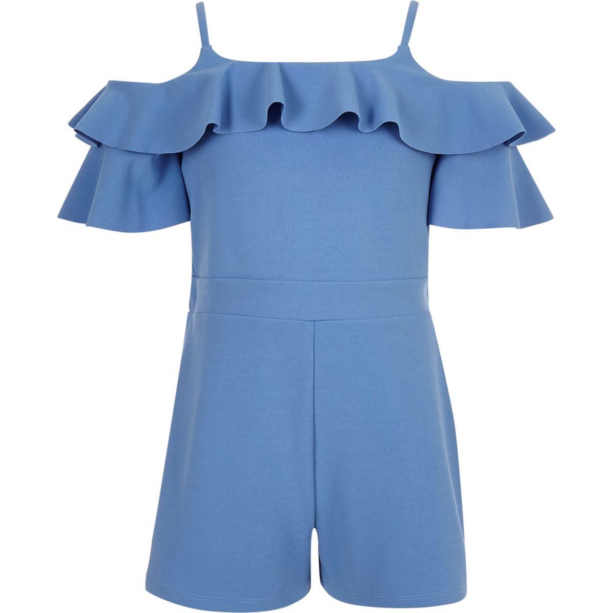Combi-short bleu à épaules dénudées et volants fille