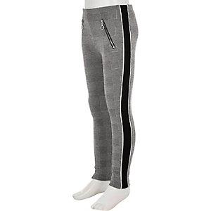 Grijze legging met geruite panelen opzij voor meisjes