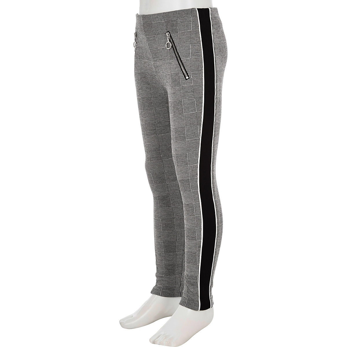 Girls grey check panel side leggings