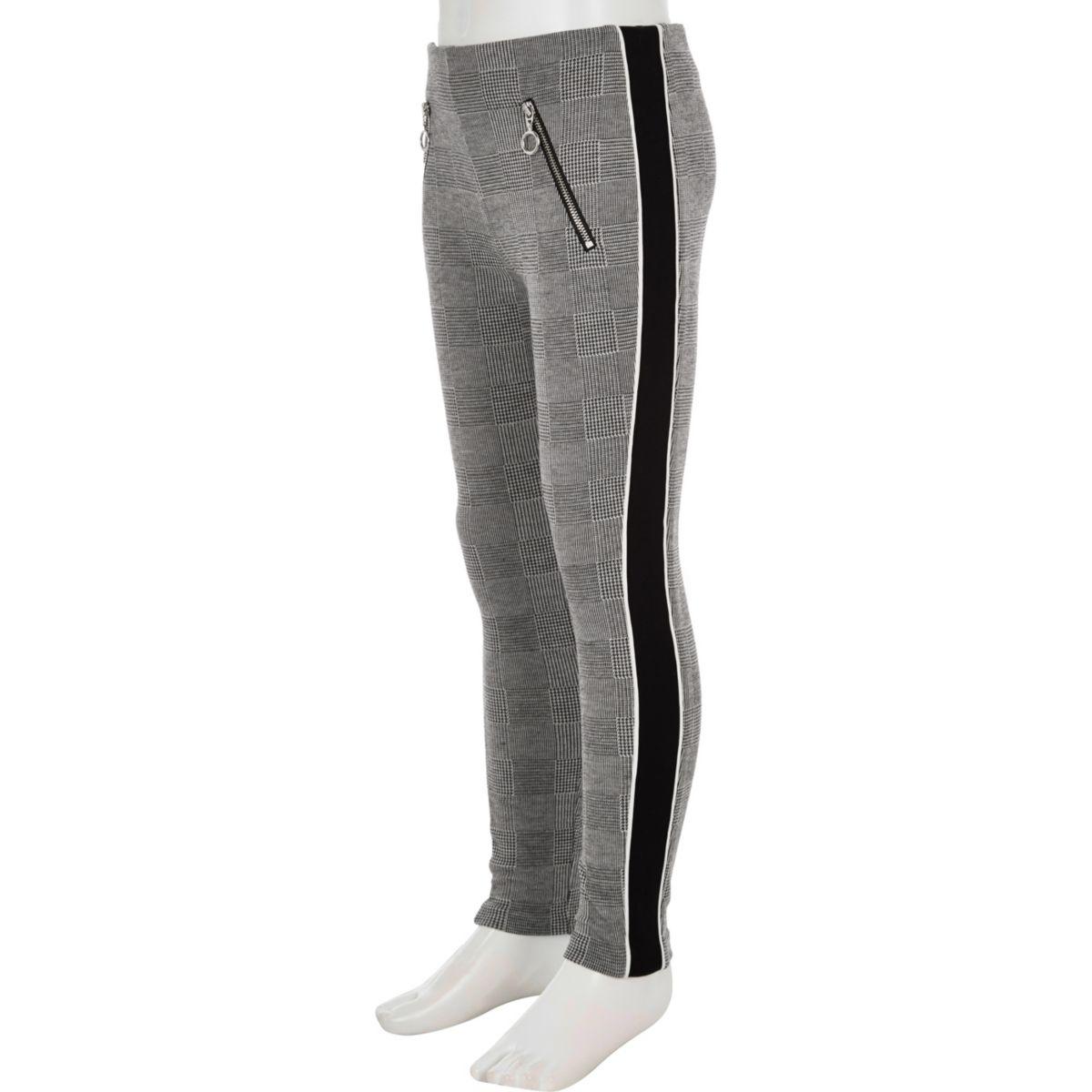 Girls grey check panel side leggings