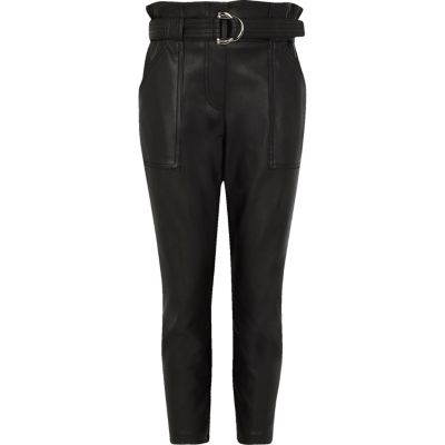 Girls Black Faux Leather Belted Trousers by River Island