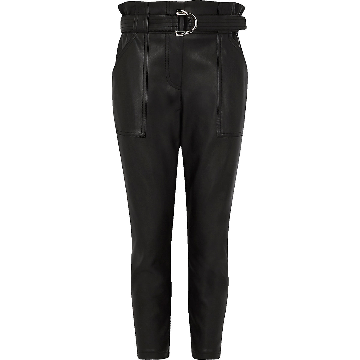 Girls black faux leather belted trousers