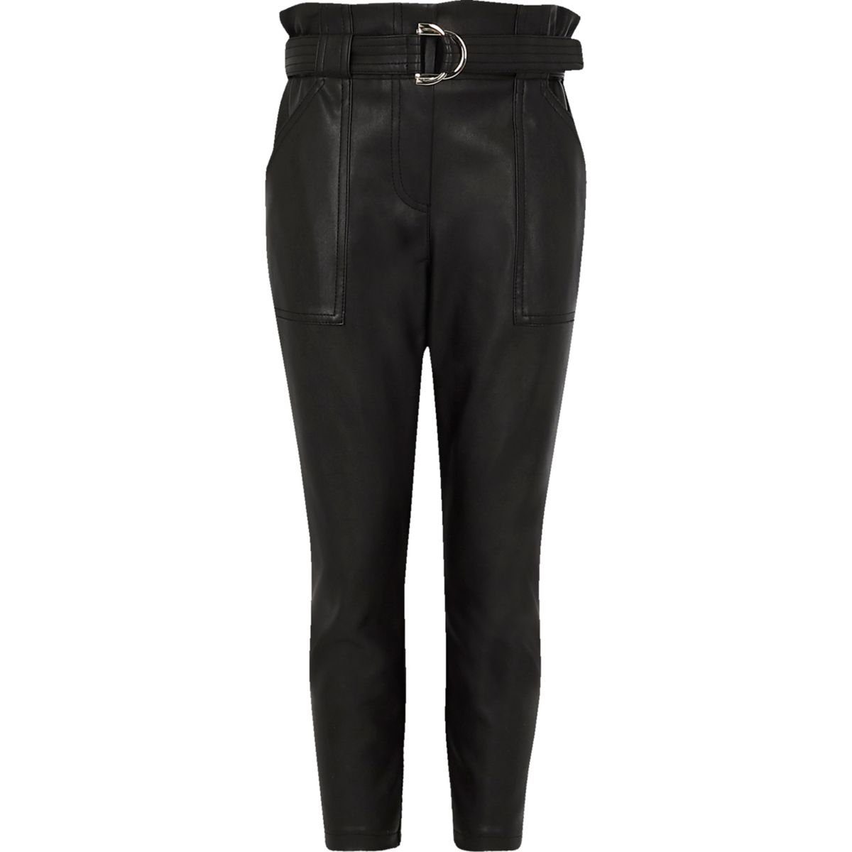 Girls black faux leather belted pants