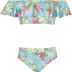 Girls blue bardot tropical print tankini