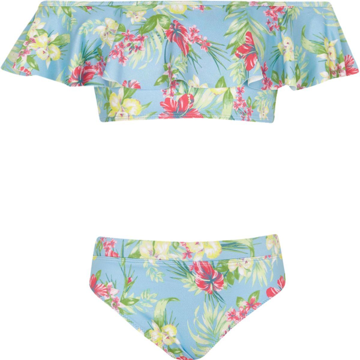 Girls blue bardot tropical print tankini