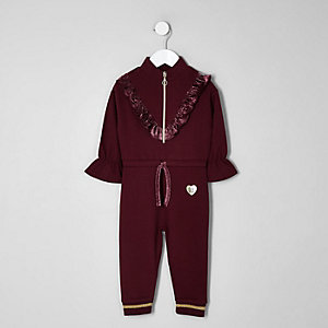Mini girls berry frill zip front jumpsuit