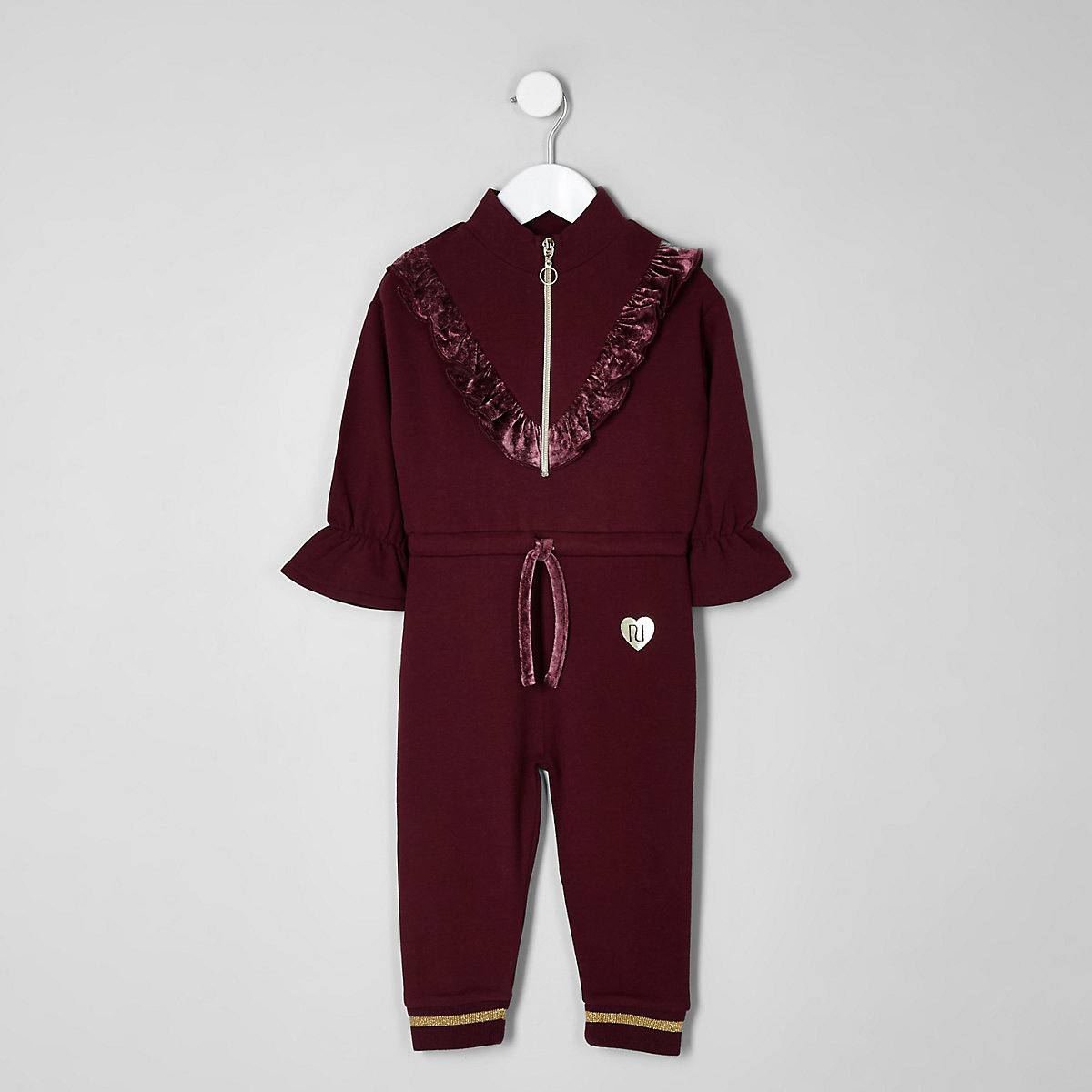 Mini girls berry frill zip front jumpsuit
