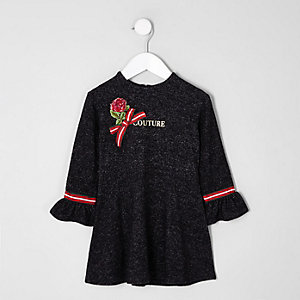 Mini - Grijze jurk met strik en 'couture'-print voor meisjes