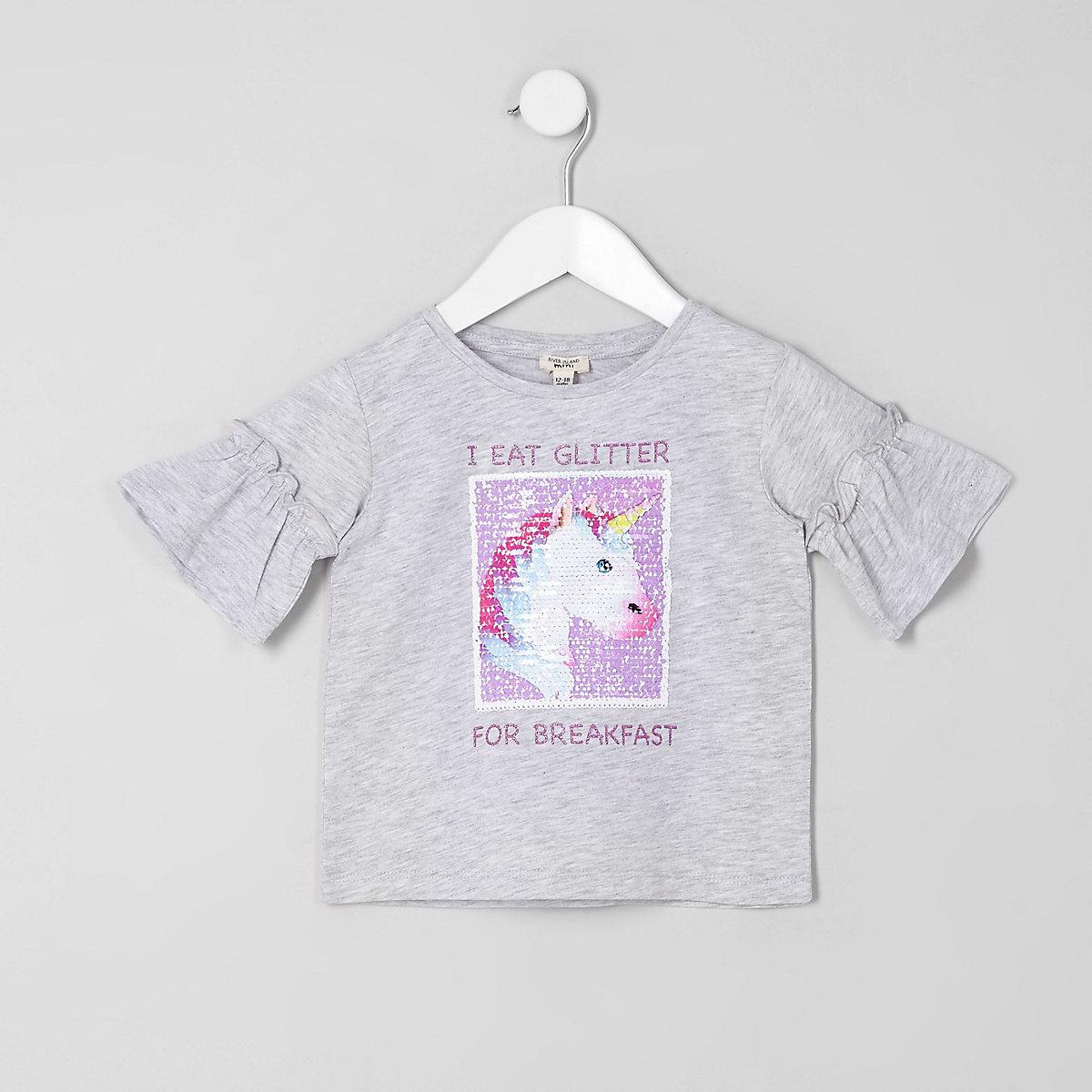 Mini girls grey reversible sequin T-shirt