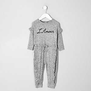 Mini girls grey 'L'amour' print jumpsuit