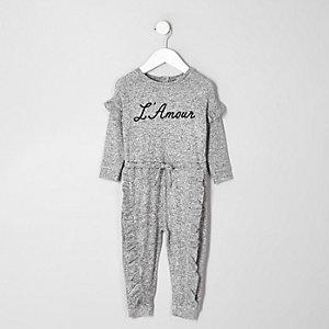 Mini - Grijze jumpsuit met 'L'amour'-print voor meisjes