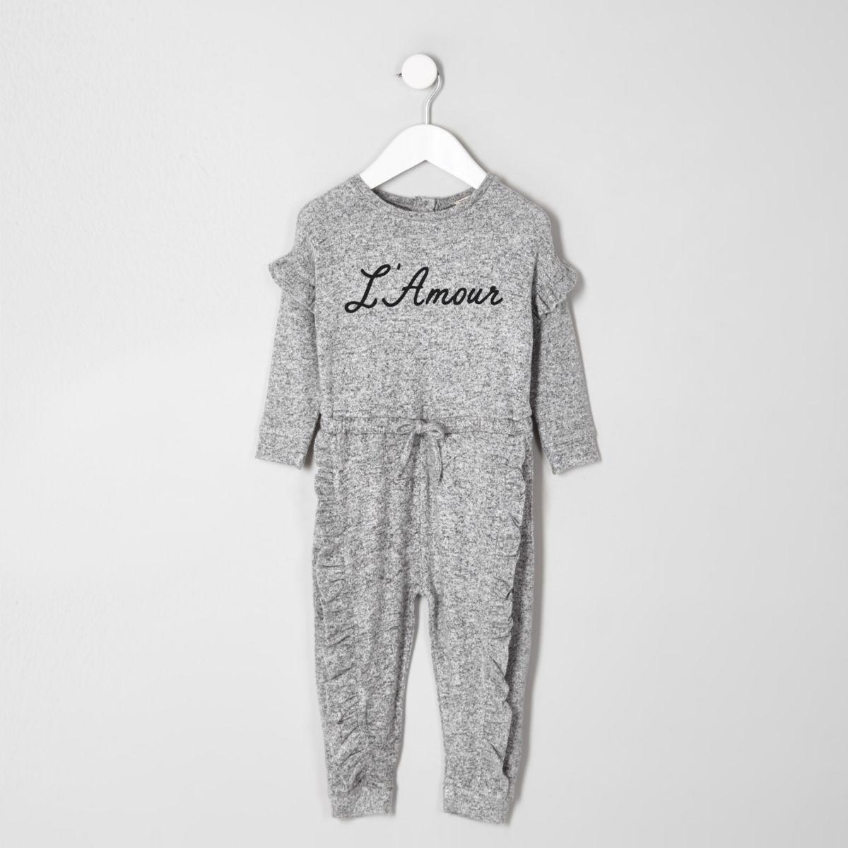Mini girls grey 'L'amour' print jumpsuit